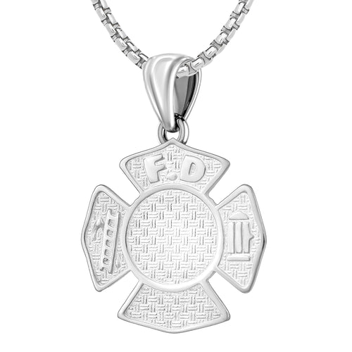 Firefighter Necklace In 925 Silver for Men - 1mm Box Chain