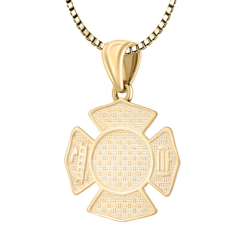 Firefighter Pendant In 14K Gold - 1.5mm Box Chain