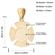 Firefighter Pendant In 14K Gold - Sizing Details