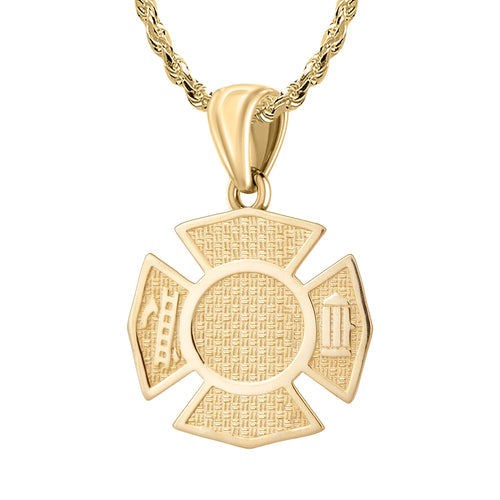 Firefighter Pendant In Gold For Men - 2.5mm Rope Chain