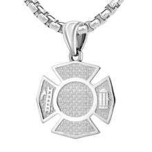 Men's 925 Sterling Silver Customizable Firefighter Pendant Necklace, 32mm