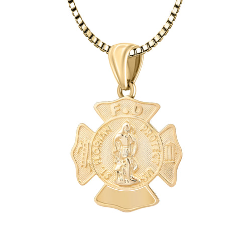 Firefighter Pendant In Gold With Chain - 1.5mm Box Chain