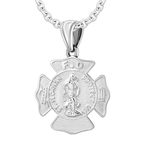 Firefighter Pendant In 925 Silver - 2mm Cable Chain