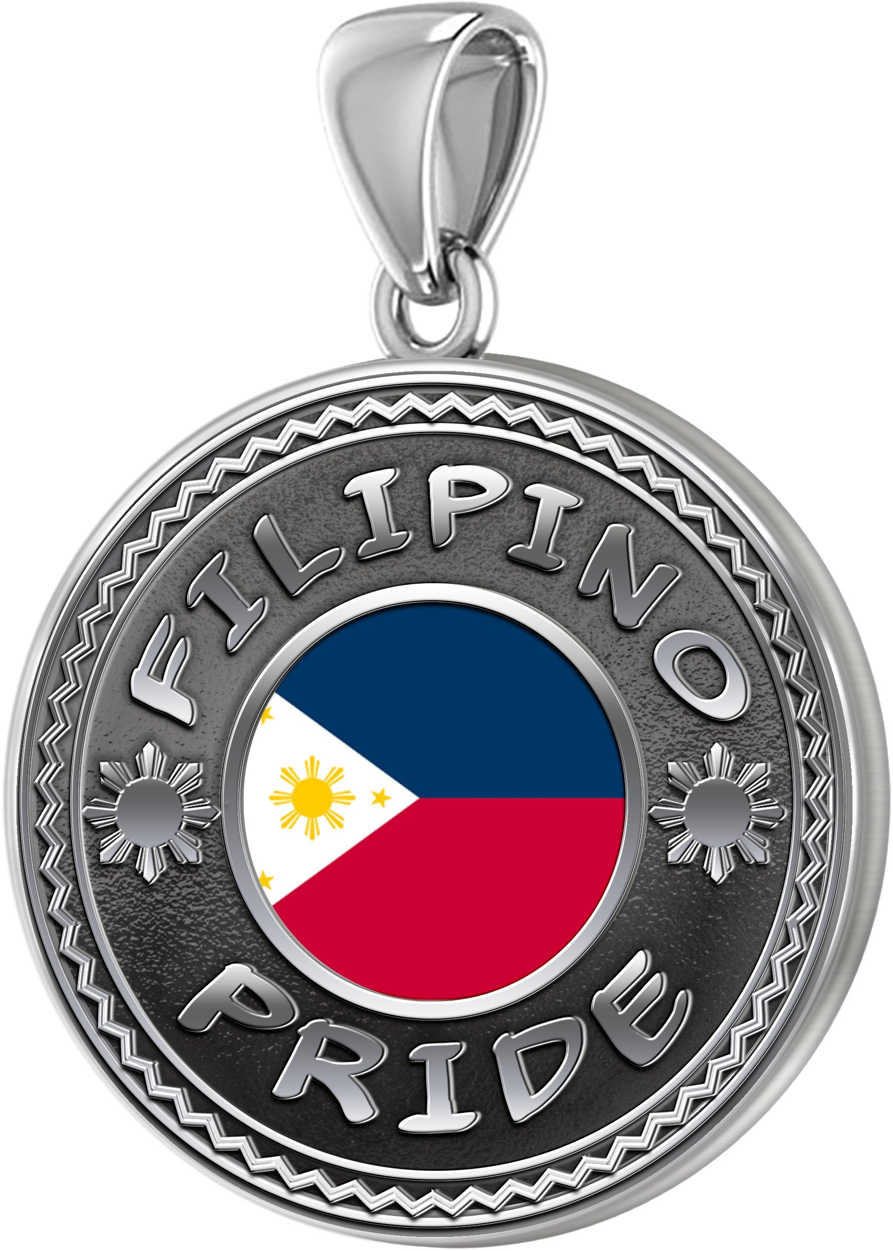 Men's 925 Sterling Silver Filipino Pride Medal Pendant Necklace with Flag, 33mm