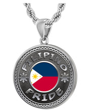 Filipino Necklace In Silver With Flag - 3mm Rope Chain