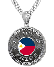 Filipino Necklace In Silver With Flag - 4.1mm Miami Chain