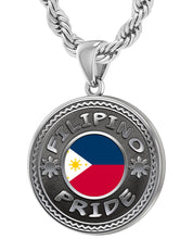 Filipino Necklace In Silver With Flag - 4.4mm Rope Chain