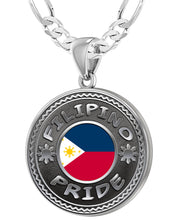 Filipino Necklace In Silver With Flag - 4mm Figaro Chain