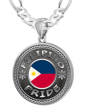 Filipino Necklace In Silver With Flag - 5.2mm Figaro Chain