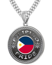 Filipino Necklace In Silver With Flag - 5.6mm Miami Chain