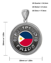Filipino Necklace In Silver With Flag - Size Details