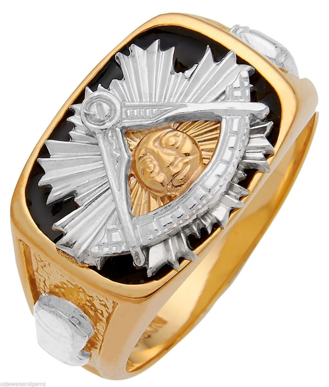 Masonic Ring With Solid Back Design - Yellow