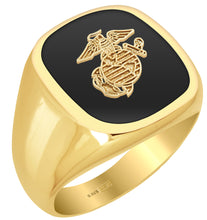 US Marine Corps Solid Back Ring in 0.925 Gold Vermeil