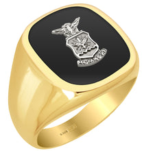 US Air Force Ring in 0.925 Gold Vermeil with Silver Emblem