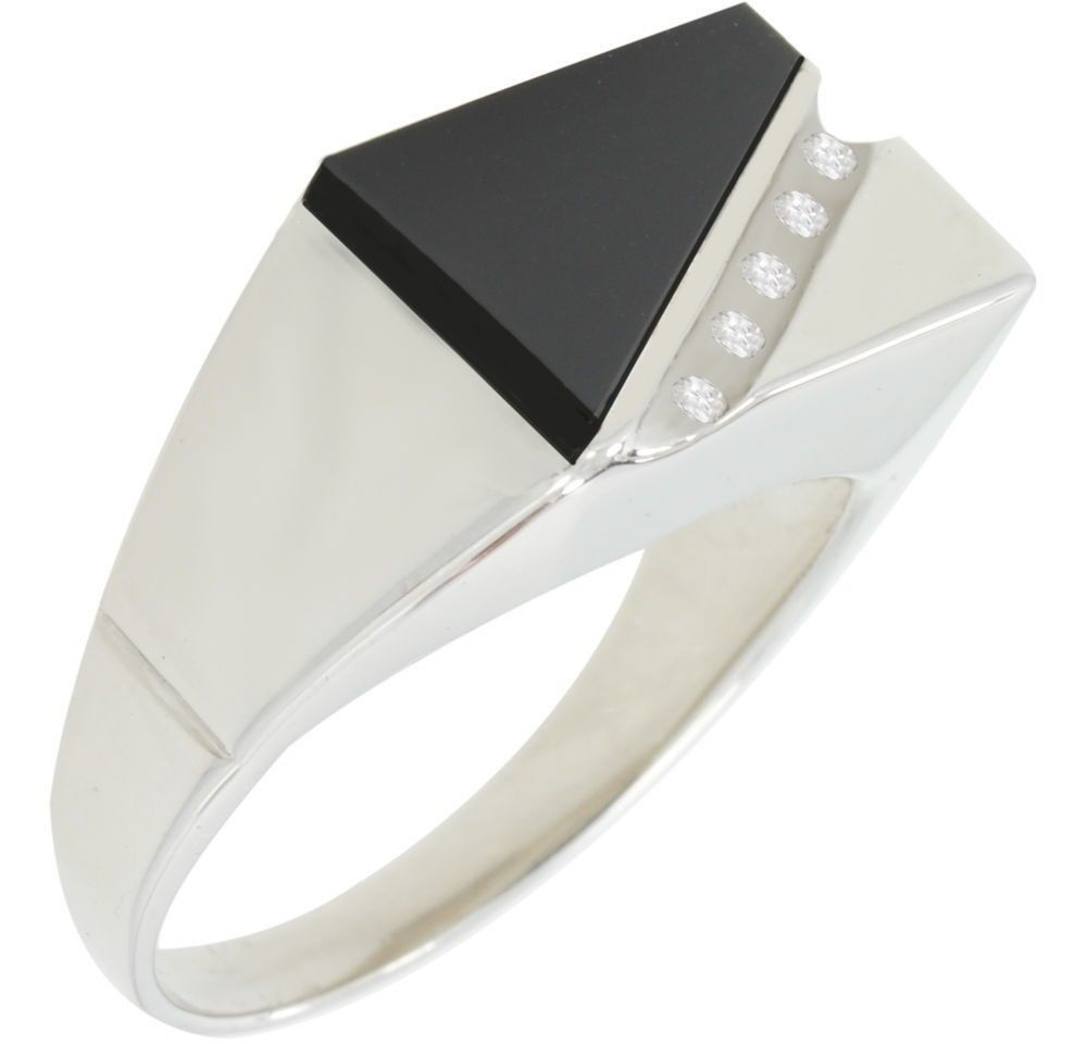 Black Onyx Ring - Ring With Diamonds In Silver For Men