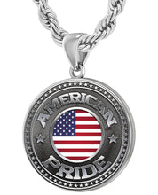American Flag Medal - 925 Silver Medal Pendant With Rope Chain