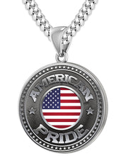 American Flag Medal - 925 Silver Medal Pendant With Miami Cuban Chain