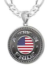American Flag Medal - 925 Silver Medal Pendants With Figaro Chain