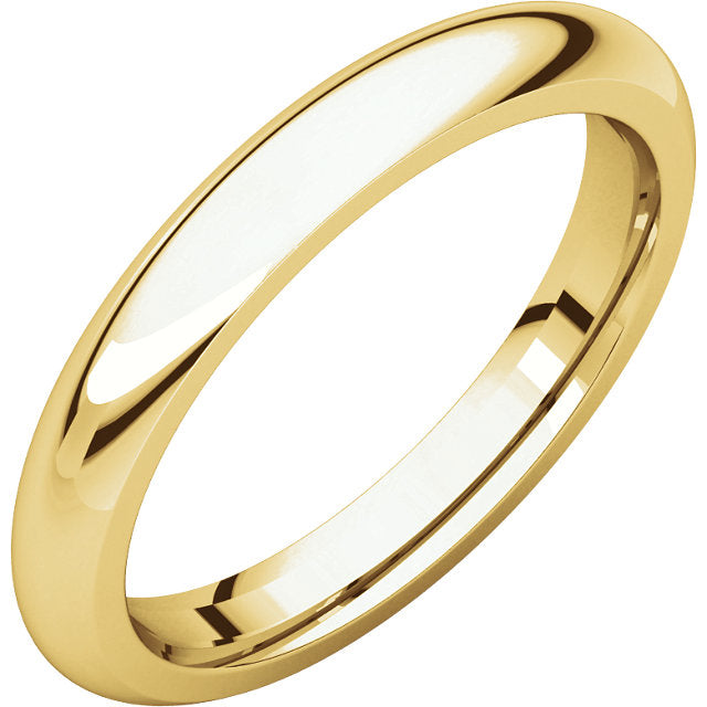 Men's 14k Yellow Gold 3mm Half Round Groom Wedding Band Ring - US Jewels