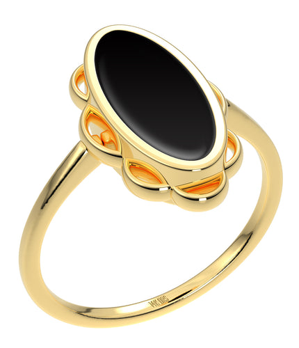 Ladies 14K Yellow Gold Genuine Oval Heart Black Onyx Ring