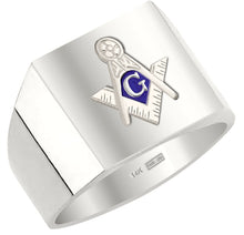 Masonic Ring Blue Lodge Solid Back 10k or 14k White Gold