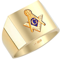Masonic Ring Blue Lodge Solid Back 10k or 14k Yellow Gold