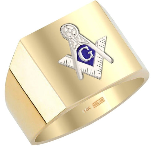 Masonic Ring Blue Lodge Solid Back In 10k or 14k Gold