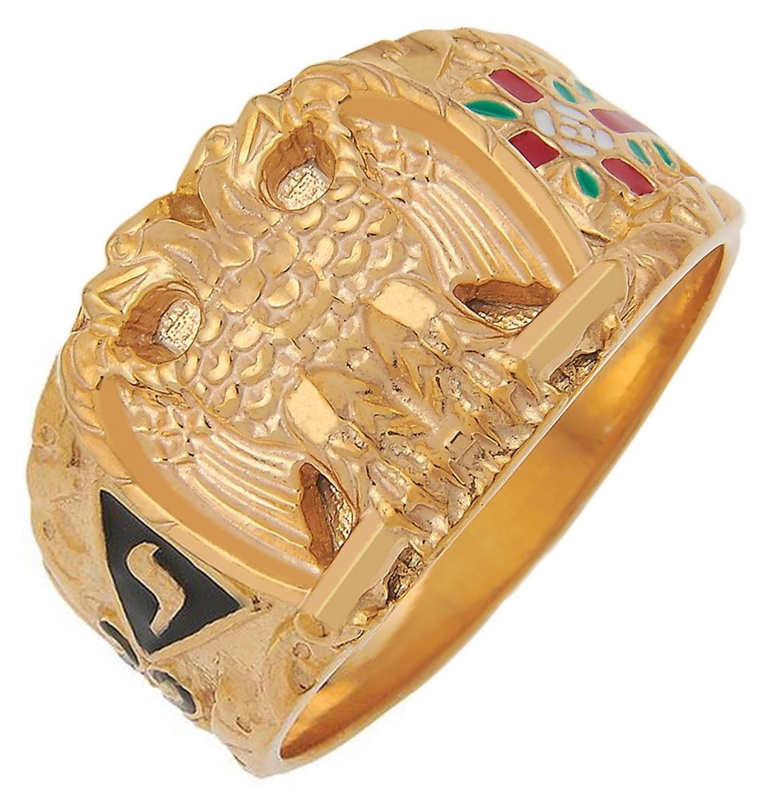 32nd Degree Mason ring with the double-headed eagle symbol