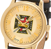 Bulova Watch With Gold Knights Templar Dial - Front View