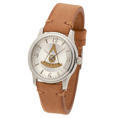 Bulova Watch - Masonic Watch With Tan Leather Strap