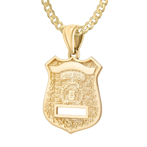 Police Badge Necklace In Gold of 26mm - 2.6mm Curb Chain