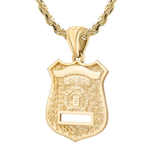 Police Badge Necklace In Gold of 26mm - 3.5mm Rope Chain