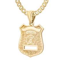 Police Badge Necklace In Gold of 26mm - 3.6mm Curb Chain