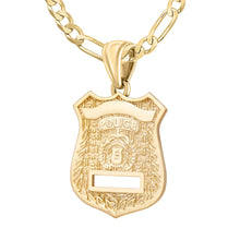 Police Badge Necklace In Gold of 26mm - 3.8mm Figaro Chain