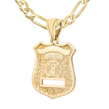 Police Badge Necklace In Gold of 26mm - 4.4mm Figaro Chain
