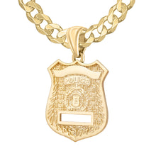 Police Badge Necklace In Gold of 26mm - 5.7mm Curb Chain