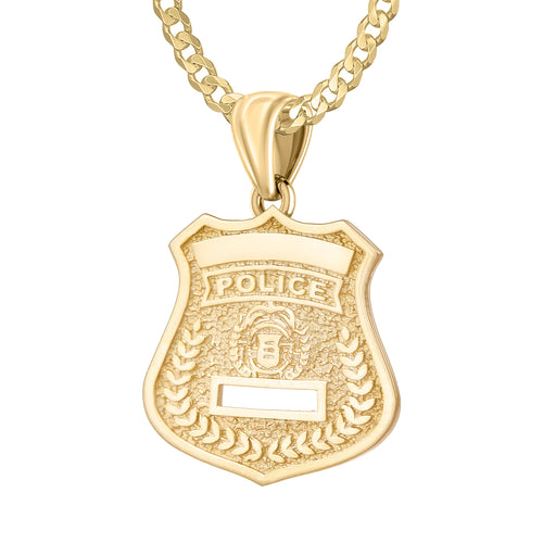 14K Gold Police Badge Necklace For Men - 2.6mm Curb Chain