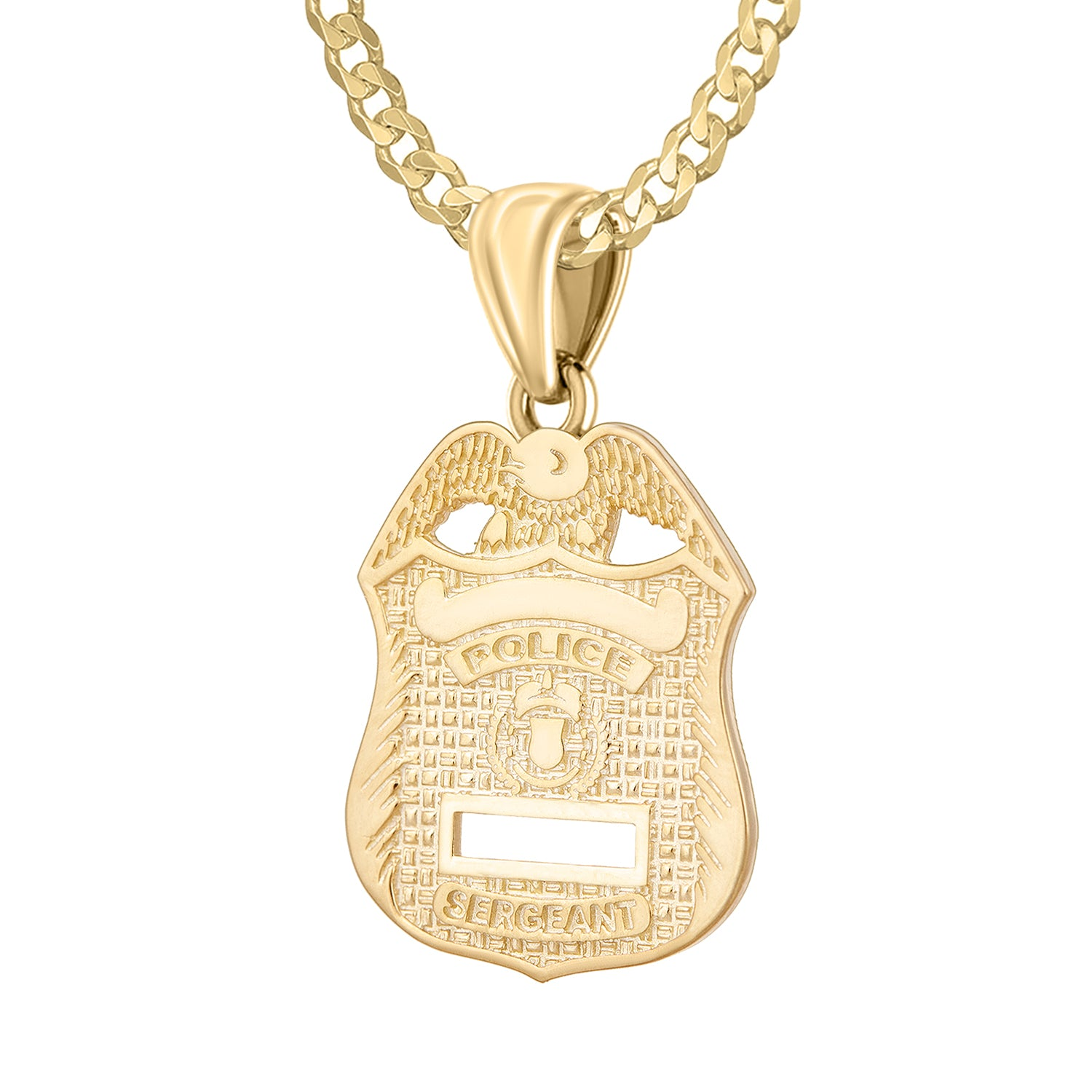 Police Badge Necklace In Gold For Men - 2.6mm Curb Chain