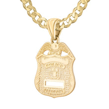Police Badge Necklace In Gold For Men - 4.6mm Curb Chain