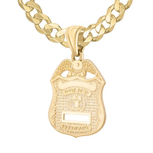 Police Badge Necklace In Gold For Men - 5.7mm Curb Chain