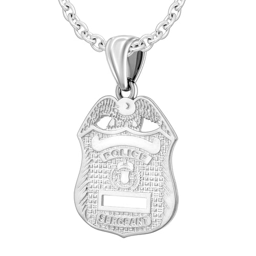 Silver Police Badge Necklace For Men - 2.5mm Cable Chain
