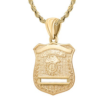 Gold Police Badge Necklace For Men - 2.5mm Rope Chain