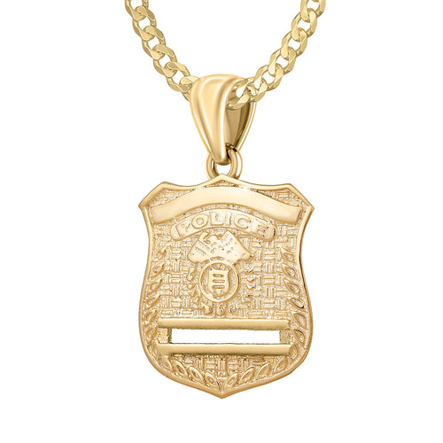 Gold Police Badge Necklace For Men - 2.6mm Curb Chain