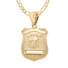 Gold Police Badge Necklace For Men - 2.8mm Figaro Chain