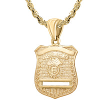 Gold Police Badge Necklace For Men - 3.5mm Rope Chain