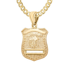 Gold Police Badge Necklace For Men - 3.6mm Curb Chain