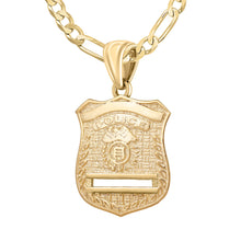Gold Police Badge Necklace For Men - 3.8mm Figaro Chain