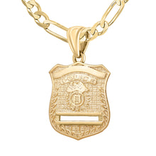 Gold Police Badge Necklace For Men - 4.4mm Figaro Chain