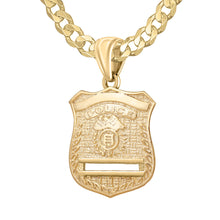 Gold Police Badge Necklace For Men - 4.6mm Curb Chain