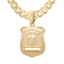 Gold Police Badge Necklace For Men - 5.7mm Curb Chain